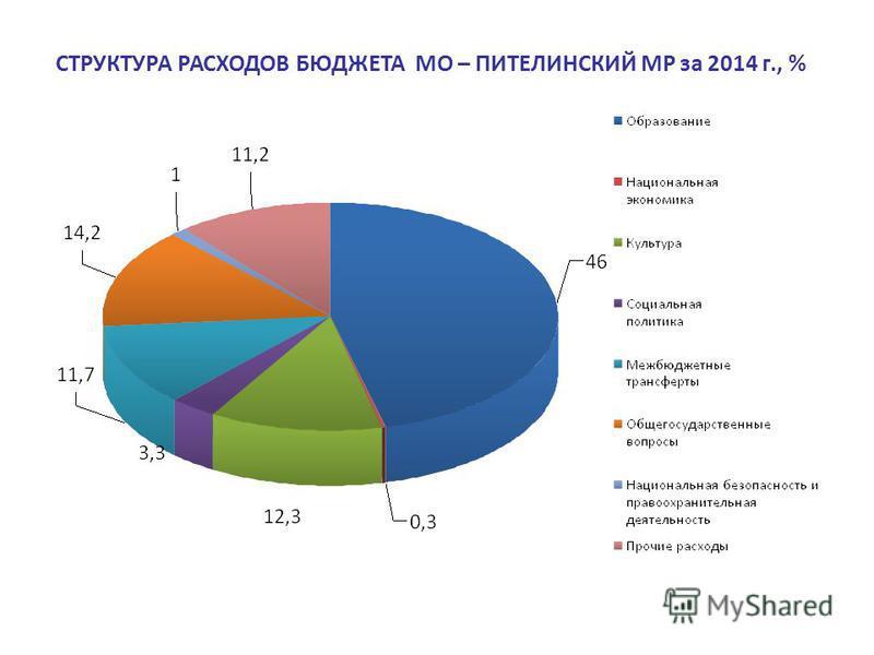СТРУКТУРА РАСХОДОВ БЮДЖЕТА МО – ПИТЕЛИНСКИЙ МР за 2014 г., %