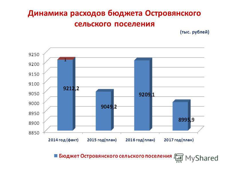 Динамика расходов бюджета Островянского сельского поселения (тыс. рублей)