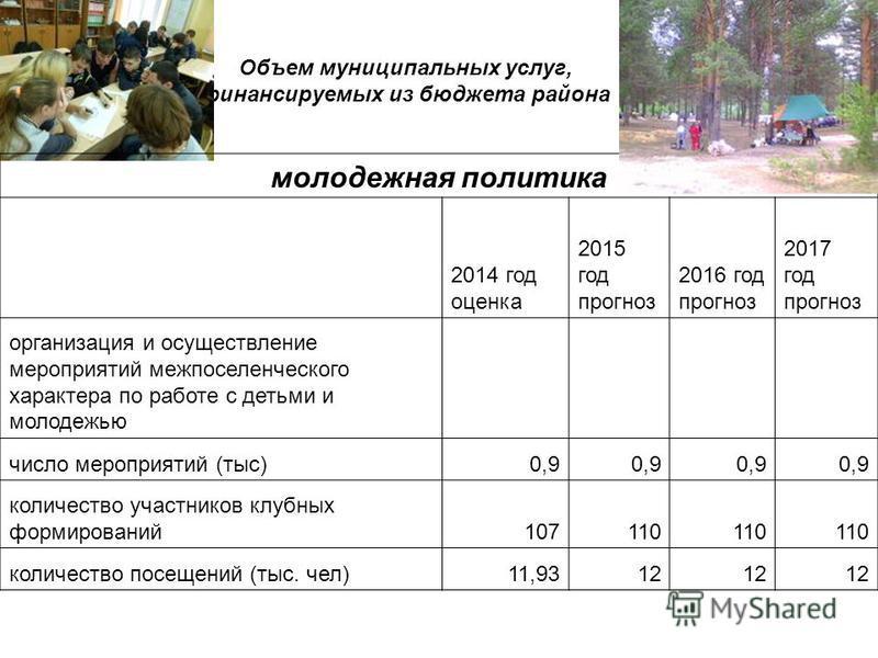 Объем муниципальных услуг, финансируемых из бюджета района молодежная политика 2014 год оценка 2015 год прогноз 2016 год прогноз 2017 год прогноз организация и осуществление мероприятий межпоселенческого характера по работе с детьми и молодежью число