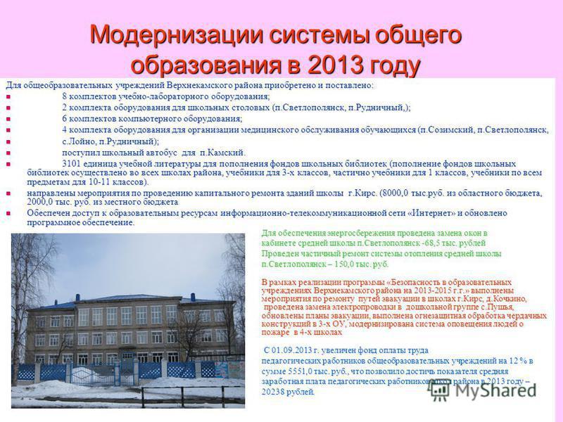 Модернизации системы общего образования в 2013 году Для общеобразовательных учреждений Верхнекамского района приобретено и поставлено: 8 комплектов учебно-лабораторного оборудования; 8 комплектов учебно-лабораторного оборудования; 2 комплекта оборудо