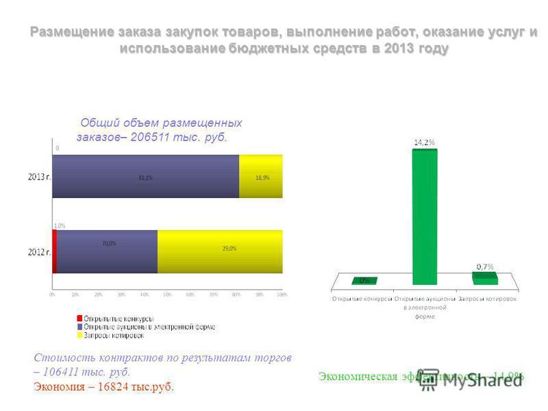 Размещение заказа закупок товаров, выполнение работ, оказание услуг и использование бюджетных средств в 2013 году Общий объем размещенных заказов– 206511 тыс. руб. Экономическая эффективность – 14,9% Стоимость контрактов по результатам торгов – 10641