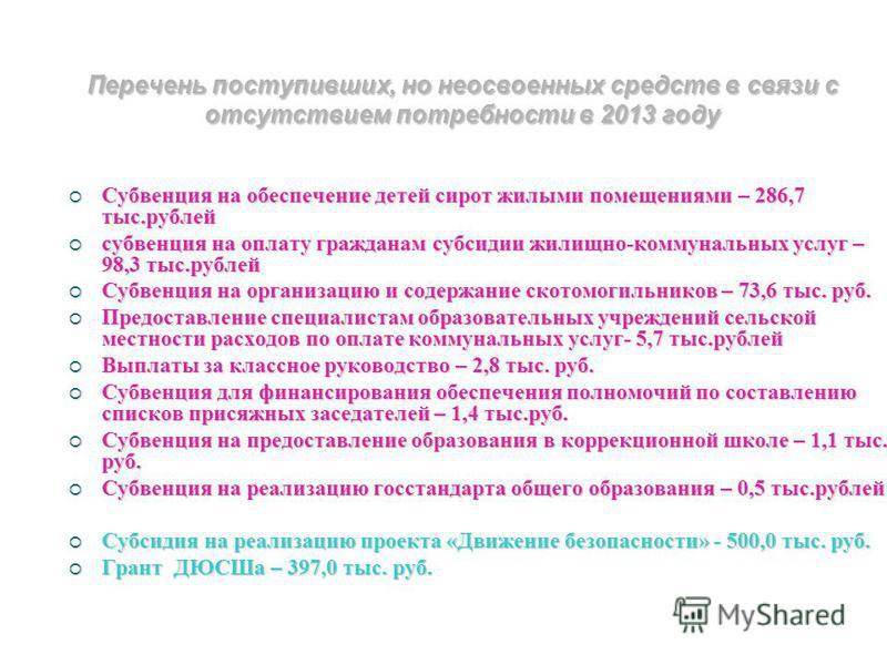 Перечень поступивших, но неосвоенных средств в связи с отсутствием потребности в 2013 году Субвенция на обеспечение детей сирот жилыми помещениями – 286,7 тыс.рублей Субвенция на обеспечение детей сирот жилыми помещениями – 286,7 тыс.рублей субвенция