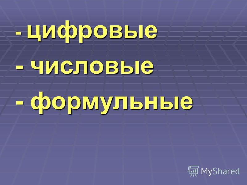 - цифровые - числовые - формульные