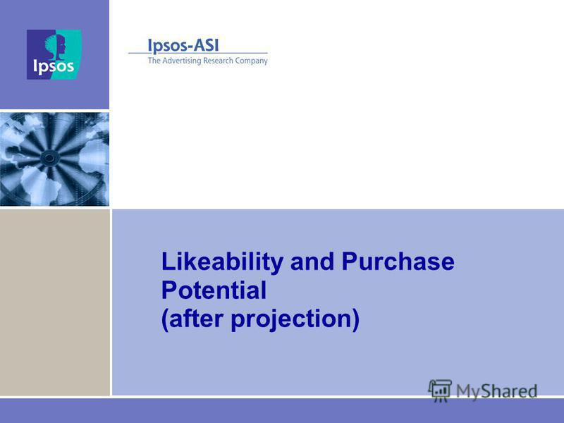 Likeability and Purchase Potential (after projection)