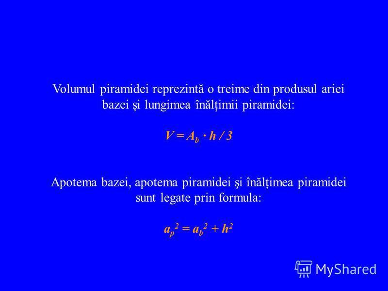 Volumul piramidei reprezintă o treime din produsul ariei bazei şi lungimea înălţimii piramidei: V = A b · h / 3 Apotema bazei, apotema piramidei şi înălţimea piramidei sunt legate prin formula: a p 2 = a b 2 + h 2