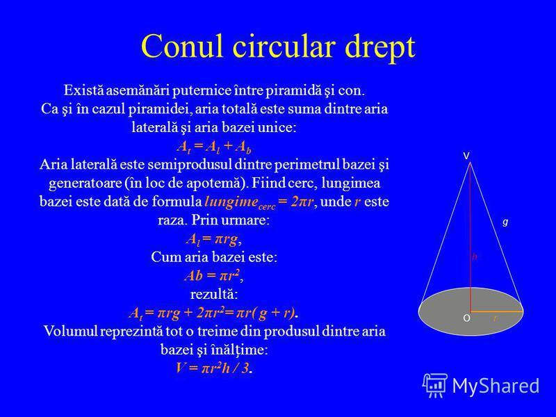 Conul circular drept Există asemănări puternice între piramidă şi con. Ca şi în cazul piramidei, aria totală este suma dintre aria laterală şi aria bazei unice: A t = A l + A b Aria laterală este semiprodusul dintre perimetrul bazei şi generatoare (î