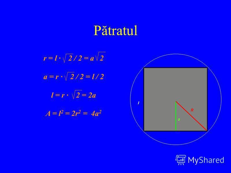 Pătratul r = l · 2 / 2 = a 2 a = r · 2 / 2 = l / 2 l = r · 2 = 2a A = l 2 = 2r 2 = 4a 2 l a R