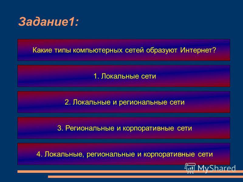 Задание 1: Какие типы компьютерных сетей образуют Интернет? 1. Локальные сети 2. Локальные и региональные сети 3. Региональные и корпоративные сети 4. Локальные, региональные и корпоративные сети