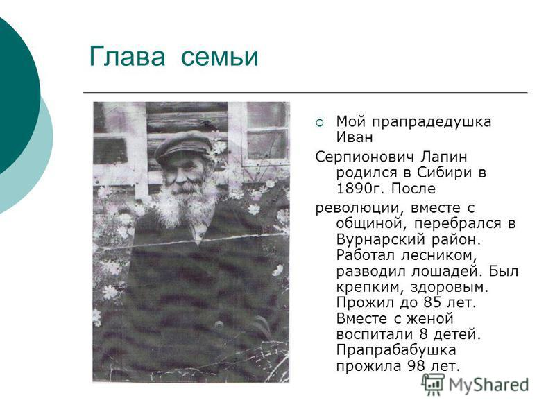 Глава семьи Мой прапрадедушка Иван Серпионович Лапин родился в Сибири в 1890 г. После революции, вместе с общиной, перебрался в Вурнарский район. Работал лесником, разводил лошадей. Был крепким, здоровым. Прожил до 85 лет. Вместе с женой воспитали 8