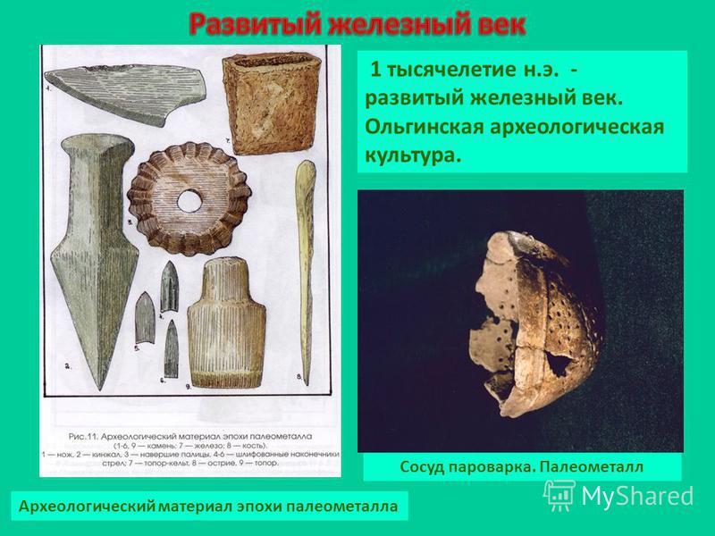 Археологический материал эпохи палеометалла 1 тысячелетие н.э. - развитый железный век. Ольгинская археологическая культура. Сосуд пароварка. Палеометалл