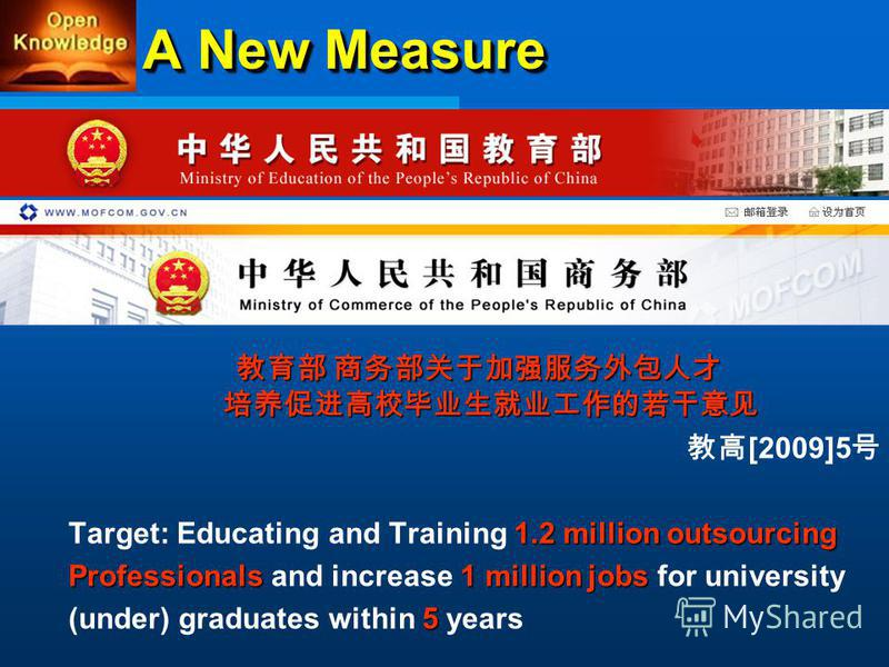 A New Measure [2009]5 1.2 millionoutsourcing Target: Educating and Training 1.2 million outsourcing Professionals1 million jobs Professionals and increase 1 million jobs for university 5 (under) graduates within 5 years