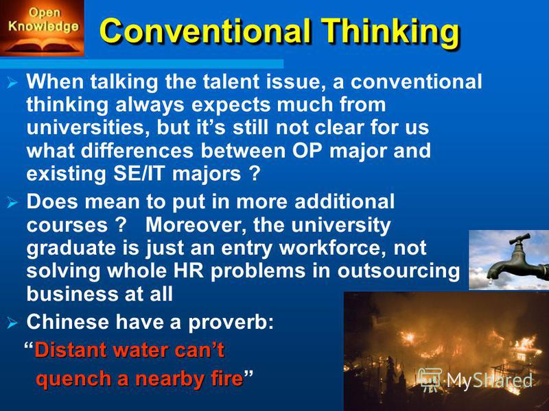 Conventional Thinking When talking the talent issue, a conventional thinking always expects much from universities, but its still not clear for us what differences between OP major and existing SE/IT majors ? Does mean to put in more additional cours