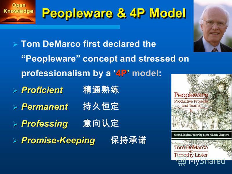 Peopleware & 4P Model 4P Tom DeMarco first declared the Peopleware concept and stressed on professionalism by a 4P model: Proficient Proficient Permanent Permanent Professing Professing Promise-Keeping Promise-Keeping