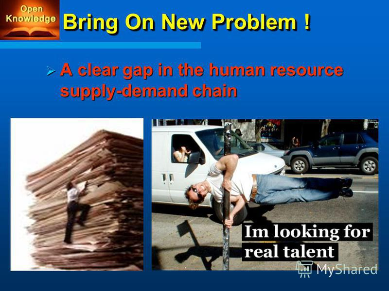 Bring On New Problem ! A clear gap in the human resource supply-demand chain A clear gap in the human resource supply-demand chain