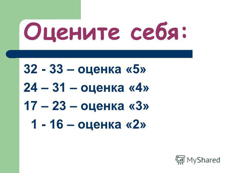 Оцените себя: 32 - 33 – оценка «5» 24 – 31 – оценка «4» 17 – 23 – оценка «3» 1 - 16 – оценка «2»