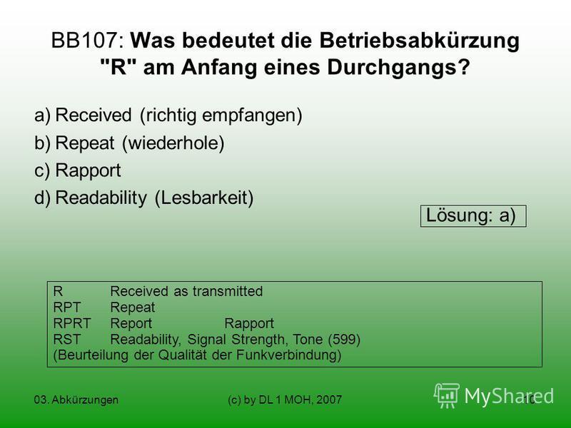 03. Abkürzungen(c) by DL 1 MOH, 200710 BB107: Was bedeutet die Betriebsabkürzung