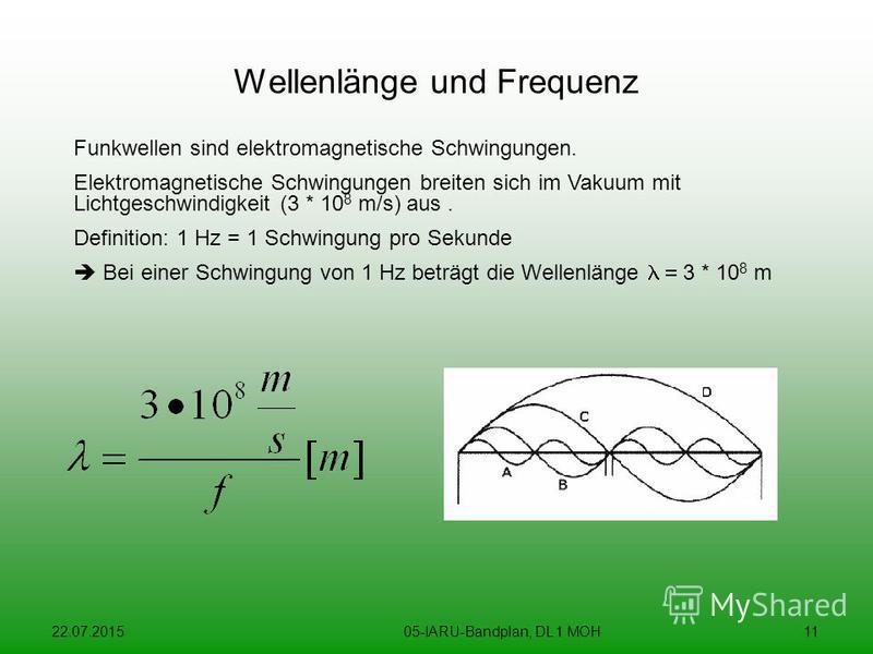 22.07.201505-IARU-Bandplan, DL 1 MOH11 Wellenlänge und Frequenz Funkwellen sind elektromagnetische Schwingungen. Elektromagnetische Schwingungen breiten sich im Vakuum mit Lichtgeschwindigkeit (3 * 10 8 m/s) aus. Definition: 1 Hz = 1 Schwingung pro S