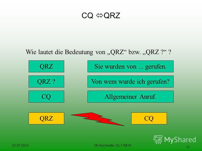 22.07.201506-Kurzwelle. DL 1 MOH 11 CQ QRZ Wie lautet die Bedeutung von QRZ bzw. QRZ ? ? Sie wurden von... gerufen. Von wem wurde ich gerufen? QRZ QRZ ? QRZCQ Allgemeiner Anruf.