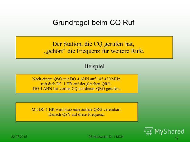 22.07.201506-Kurzwelle. DL 1 MOH 12 Grundregel beim CQ Ruf Der Station, die CQ gerufen hat, gehört die Frequenz für weitere Rufe. Beispiel Nach einem QSO mit DO 4 AHN auf 145.400 MHz ruft dich DC 1 HR auf der gleichen QRG. DO 4 AHN hat vorher CQ auf