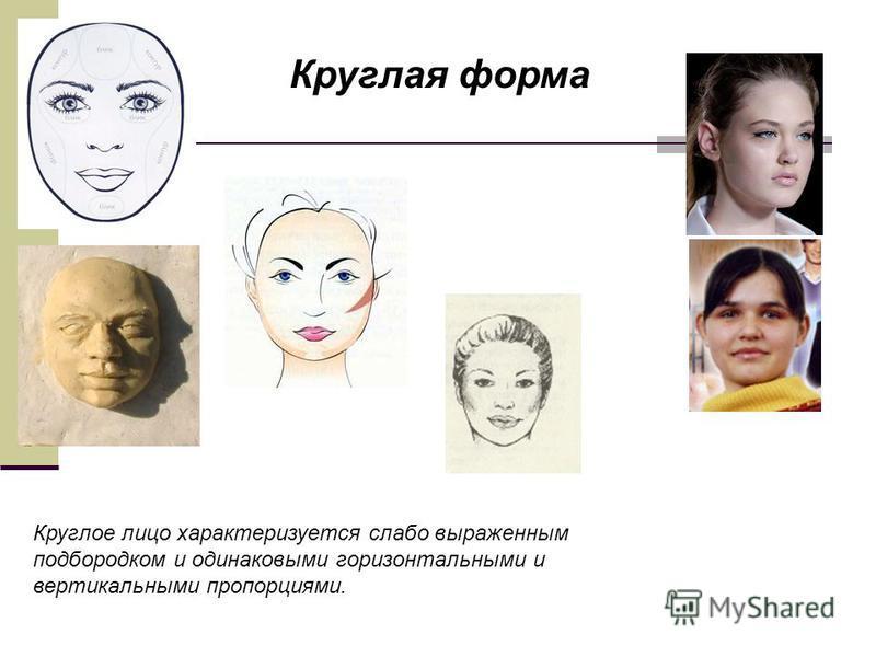 Круглое лицо характеризуется слабо выраженным подбородком и одинаковыми горизонтальными и вертикальными пропорциями. Круглая форма