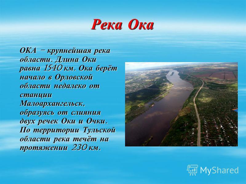 Река Ока ОКА – крупнейшая река области. Длина Оки равна 1540 км. Ока берёт начало в Орловской области недалеко от станции Малоархангельск, образуясь от слияния двух речек Оки и Очки. По территории Тульской области река течёт на протяжении 230 км. ОКА