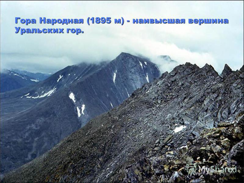17 Гора Народная (1895 м) - наивысшая вершина Уральских гор.