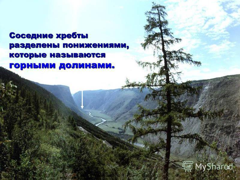 Соседние хребты разделены понижениями, которые называются горными долинами. 4