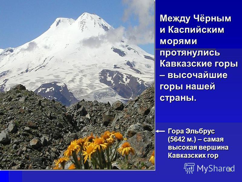 Между Чёрным и Каспийским морями протянулись Кавказские горы – высочайшие горы нашей страны. Гора Эльбрус (5642 м.) – самая высокая вершина Кавказских гор 8