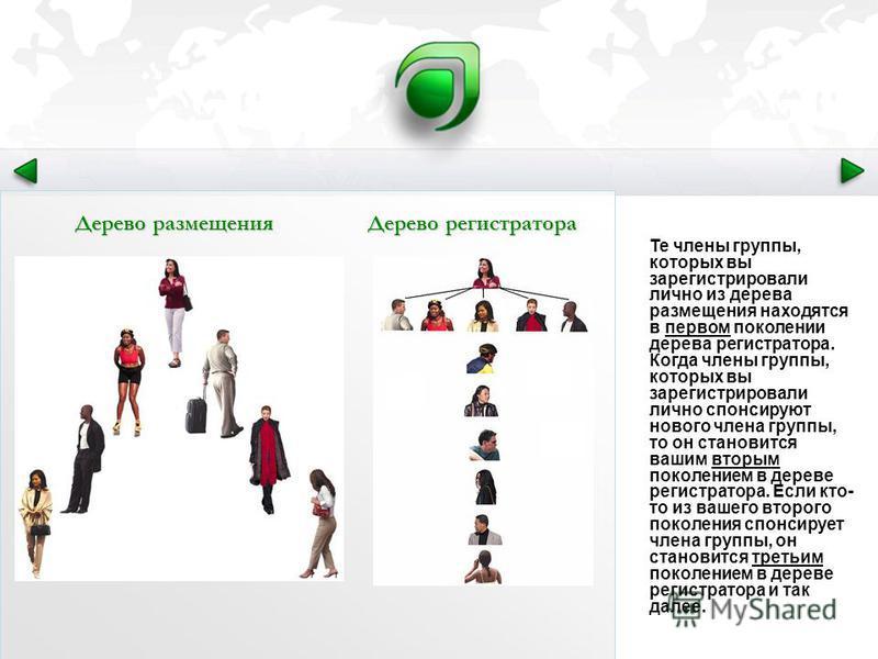 Те члены группы, которых вы зарегистрировали лично из дерева размещения находятся в первом поколении дерева регистратора. Когда члены группы, которых вы зарегистрировали лично спонсируют нового члена группы, то он становится вашим вторым поколением в