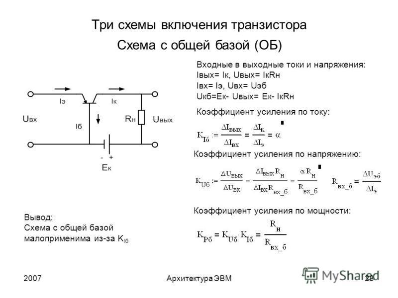 2007Архитектура ЭВМ28 Три схемы включения транзистора Схема с общей базой (ОБ) Входные в выходные токи и напряжения: Iвых= Iк, Uвых= IкRн Iвх= Iэ, Uвх= Uэб Uкб=Eк- Uвых= Eк- IкRн Коэффициент усиления по току: Коэффициент усиления по напряжению: Коэфф