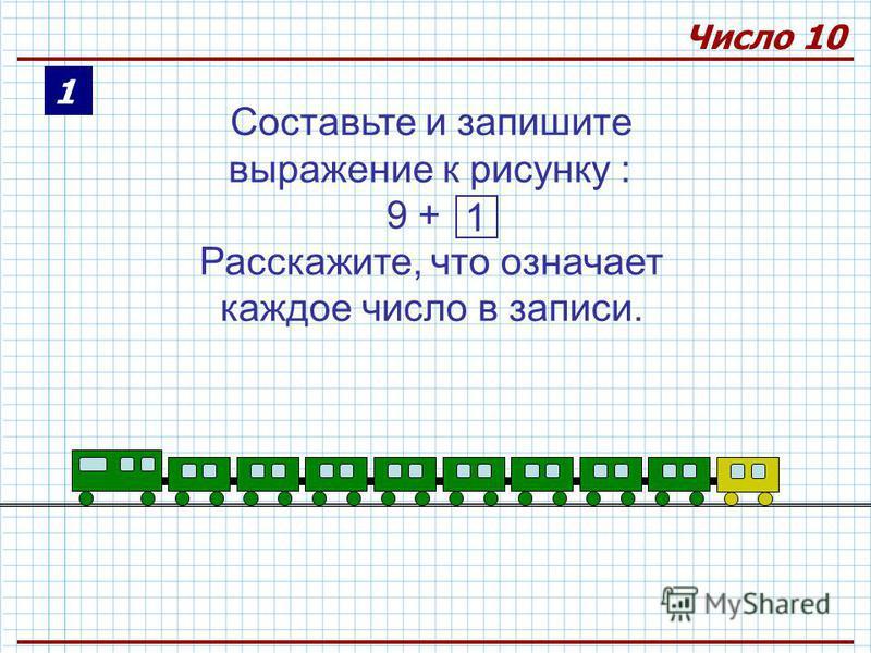 1 Составьте и запишите выражение к рисунку : 9 + Расскажите, что означает каждое число в записи. 1