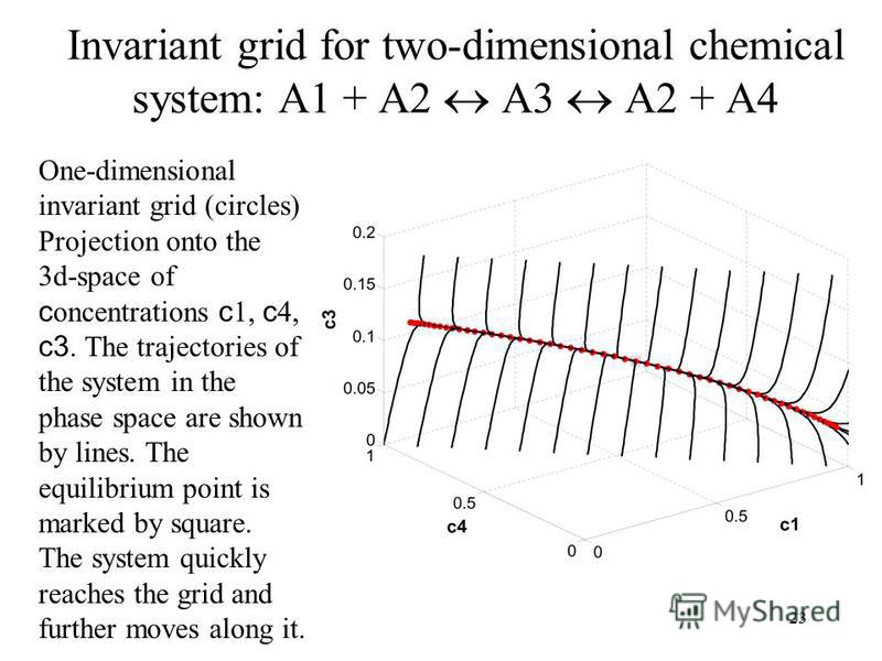 23 Invariant grid for two-dimensional chemical system: A1 + A2 A3 A2 + A4 One-dimensional invariant grid (circles) Projection onto the 3d-space of c oncentrations c 1, c 4, c3. The trajectories of the system in the phase space are shown by lines. The