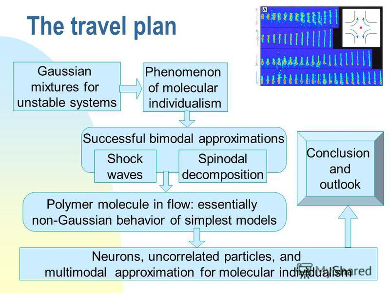 5 The travel plan Gaussian mixtures for unstable systems Phenomenon of molecular individualism Successful bimodal approximations Shock waves Spinodal decomposition Polymer molecule in flow: essentially non-Gaussian behavior of simplest models Neurons