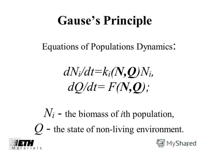3 Gauses Principle Equations of Populations Dynamics : dN i /dt=k i (N,Q)N i, dQ/dt= F(N,Q); N i - the biomass of ith population, Q - the state of non-living environment. M a t e r i a l s