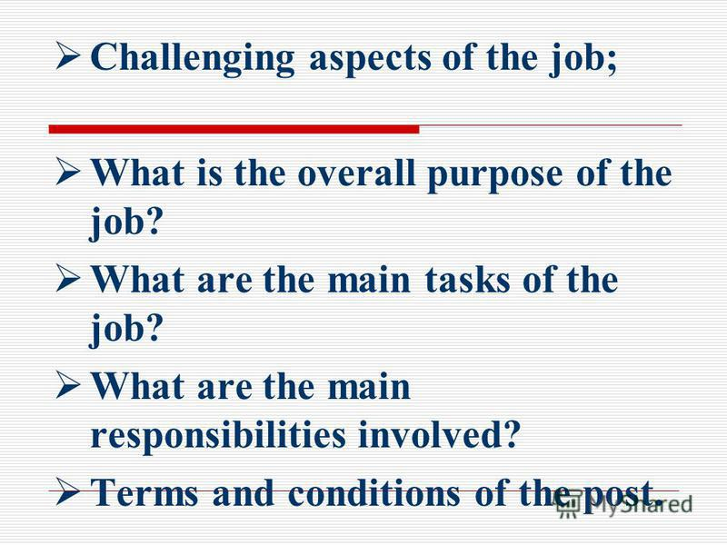 Challenging aspects of the job; What is the overall purpose of the job? What are the main tasks of the job? What are the main responsibilities involved? Terms and conditions of the post.