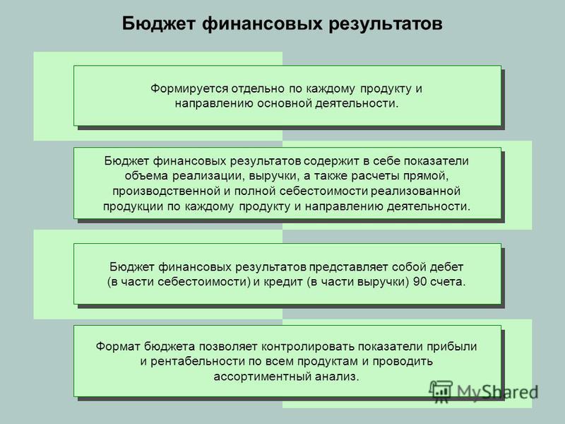 Бюджет финансовых результатов Формируется отдельно по каждому продукту и направлению основной деятельности. Бюджет финансовых результатов содержит в себе показатели объема реализации, выручки, а также расчеты прямой, производственной и полной себесто