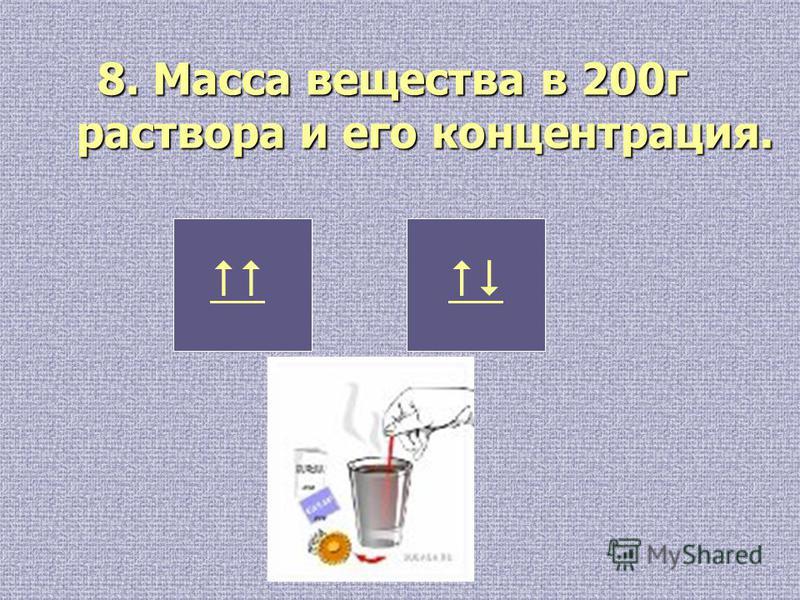 8. Масса вещества в 200 г раствора и его концентрация.