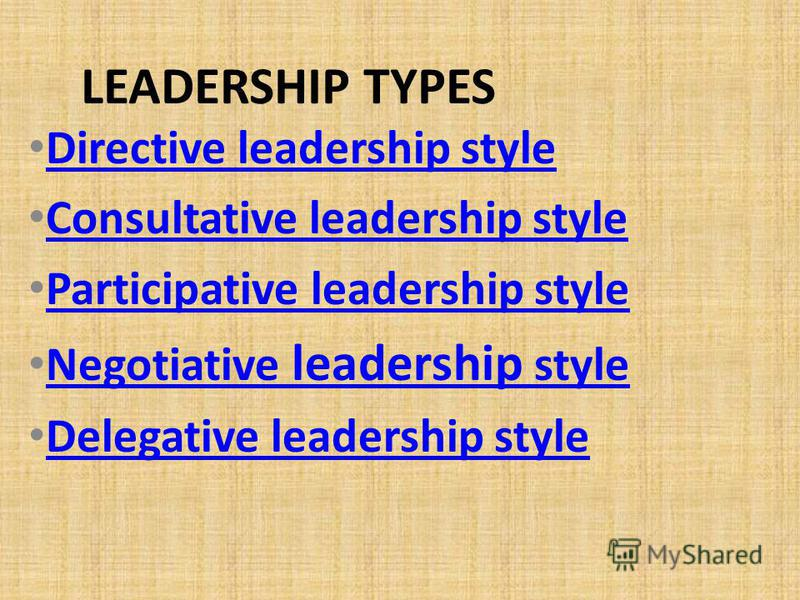 LEADERSHIP TYPES Directive leadership style Consultative leadership style Participative leadership style Negotiative leadership style Negotiative leadership style Delegative leadership style