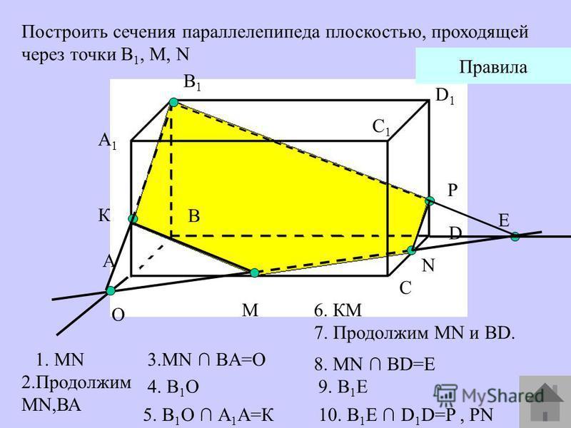 A1A1 А В В1В1 С С1С1 D D1D1 M N Построить сечения параллелепипеда плоскостью, проходящей через точки В 1, М, N O К Е P Правила 1. MN 2. Продолжим MN,ВА 4. В 1 О 6. КМ 7. Продолжим MN и BD. 9. В 1 E 5. В 1 О А 1 А=К 8. MN BD=E 10. B 1 Е D 1 D=P, PN 3.