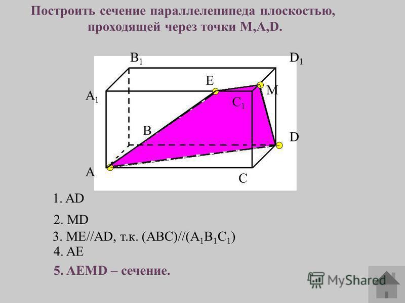 A1A1 А В В1В1 С С1С1 D D1D1 Построить сечение параллелепипеда плоскостью, проходящей через точки M,A,D. М 1. AD 2. MD 3. ME//AD, т.к. (ABC)//(A 1 B 1 C 1 ) 4. AE 5. AEMD – сечение. E