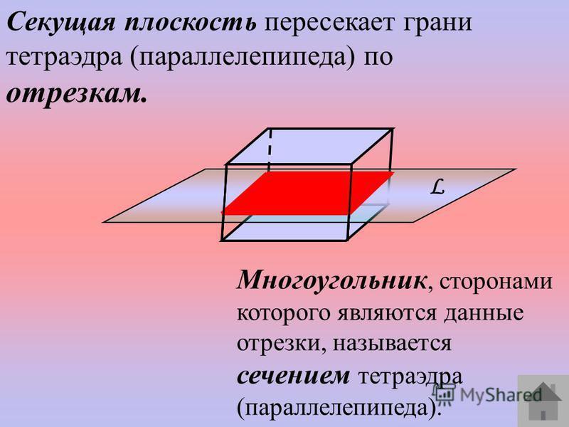 Секущая плоскость пересекает грани тетраэдра (параллелепипеда) по отрезкам. Многоугольник, сторонами которого являются данные отрезки, называется сечением тетраэдра (параллелепипеда). L