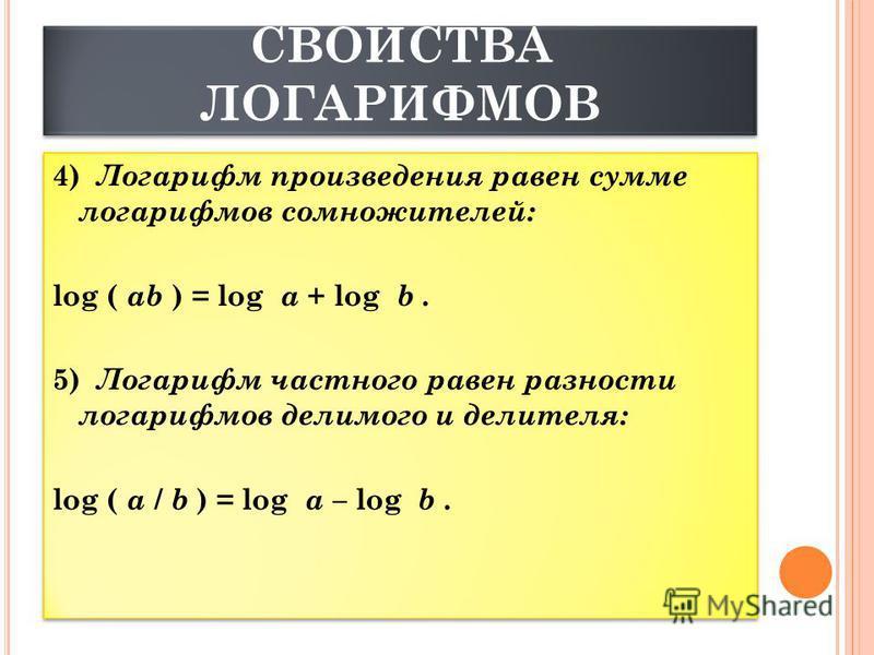 СВОЙСТВА ЛОГАРИФМОВ 4) Логарифм произведения равен сумме логарифмов сомножителей: log ( ab ) = log a + log b. 5) Логарифм частного равен разности логарифмов делимого и делителя: log ( a / b ) = log a – log b.