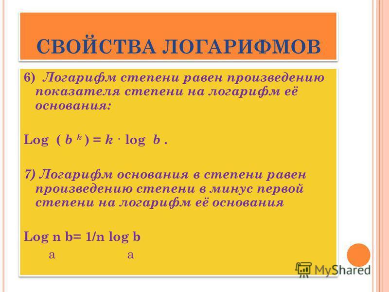 С ВОЙСТВА ЛОГАРИФМОВ 6) Логарифм степени равен произведению показателя степени на логарифм её основания: Log ( b k ) = k · log b. 7) Логарифм основания в степени равен произведению степени в минус первой степени на логарифм её основания Log n b= 1/n