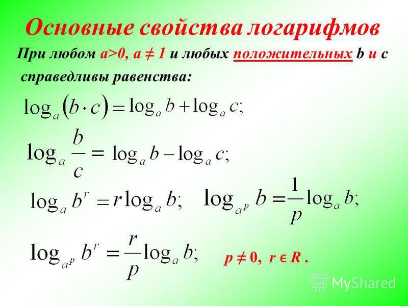 Основные свойства логарифмов При любом a>0, a 1 и любых положительных b и c справедливы равенства: р 0, r R.