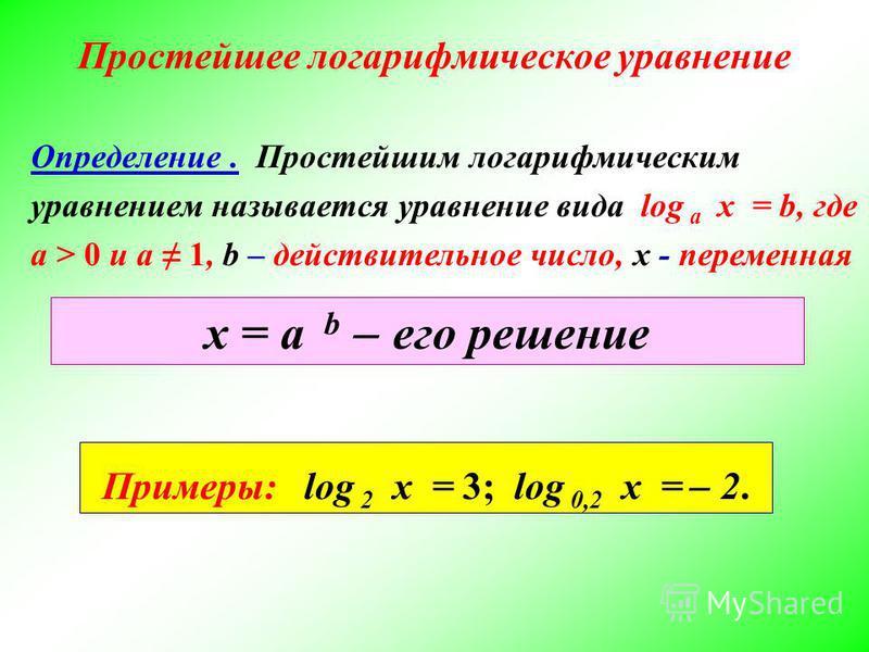 Простейшее логарифмическое уравнение х = а b ̶ его решение Определение. Простейшим логарифмическим уравнением называется уравнение вида log a x = b, где a > 0 и a 1, b – действительное число, х - переменная Примеры: log 2 x = 3; log 0,2 x = ̶ 2.