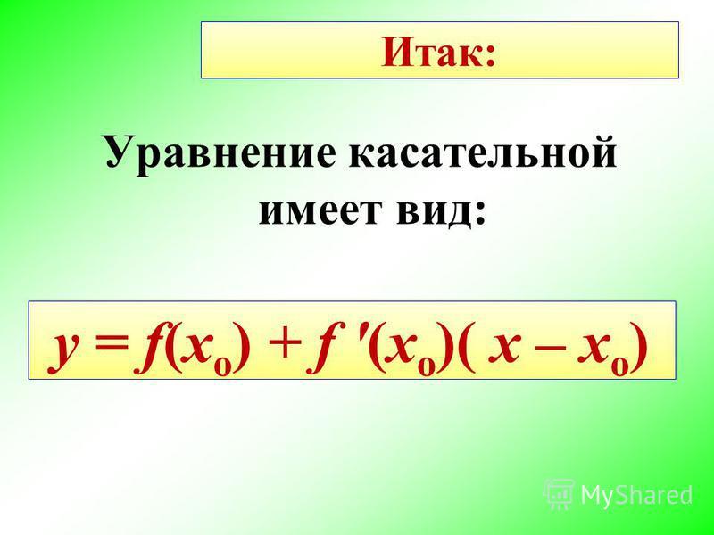 Итак: Уравнение кассательной имеет вид: y = f(x o ) + f '(x o )( x – x o )