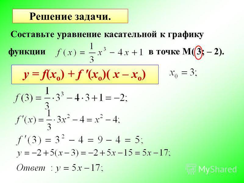Решение задачи. Составьте уравнение кассательной к графику функции в точке M( 3; – 2). y = f(x o ) + f '(x o )( x – x o )