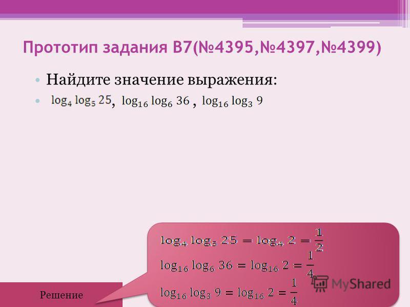Прототип задания B7(4395,4397,4399) Найдите значение выражения:,, Решение