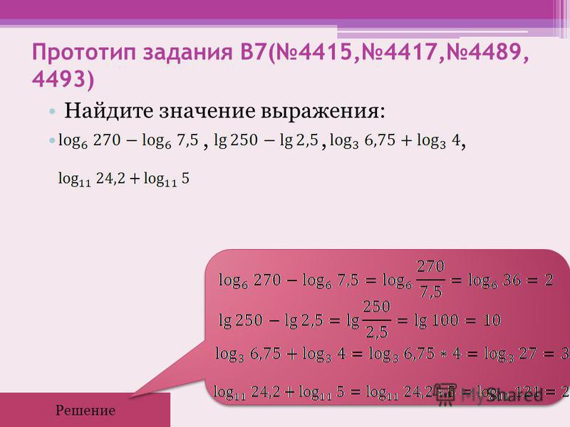 Прототип задания B7(4415,4417,4489, 4493) Найдите значение выражения:,,, Решение