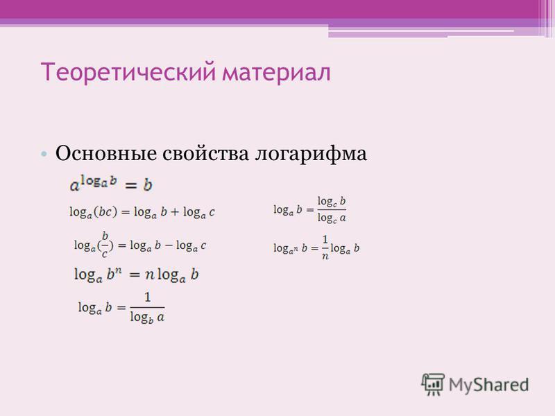 Теоретический материал Основные свойства логарифма